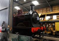 Metropolitan Railway E Class 0-4-4T No.1 inside the shed at Hayes Knoll on 15 March.<br><br>[Peter Todd&nbsp;15/03/2014]