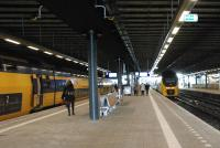 Double deck trains at The Hague's Central station, a terminus. View looks north towards the buffers.<br><br>[Ewan Crawford&nbsp;08/03/2014]
