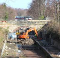 Beginning of the end at Eskbank? The machines get to work at the 1847 Esbank station site on the morning of 19 March 2014. <br><br>[John Furnevel&nbsp;19/03/2014]