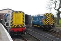 Scene in the shed yard at Hayes Knoll on the Swindon and Cricklade Railway on 15 March 2014. Class 09 D3668 (left) stands alongside class 08 D3261.<br><br>[Peter Todd&nbsp;15/03/2014]