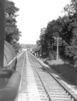 View from the footplate of McIntosh 3F 0-6-0 no 57622 approaching Busby Viaduct with a westbound freight in 1960. [Ref query 6620]<br><br>[David Stewart&nbsp;//1960]