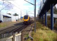Surrounded by steel: Coventry certainly looks like an industrial city as a Birmingham-bound Voyager passes the location once occupied by the main Triumph car factory.<br><br>[Ken Strachan&nbsp;21/03/2014]