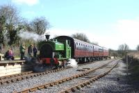 The Swindon & Cricklade Railway's Barclay 0-6-0ST <I>Salmon</I> will soon be on its way to the Royal Deeside Railway. The locomotive is seen here preparing to leave Taw Valley Halt on 23 March 2014. [See image 47203]<br><br>[Peter Todd&nbsp;23/03/2014]