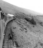 Black 5 plus Standard 5 climbing to Corrour by Loch Treig in May 1961. [Ref query 4203]<br><br>[David Stewart&nbsp;22/05/1961]