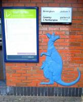 This almost planar sculpture on the booking office wall at Canley depicts a kangaroo and its joey; as you would expect in Coventry.<br><br>[Ken Strachan&nbsp;21/03/2014]