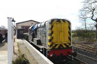 Class 08 D3261 standing in the shed yard at Hayes Knoll on 15 March.<br><br>[Peter Todd&nbsp;15/03/2014]