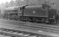 Black 5 no 45127 stands alongside Balornock Shed, thought to be in 1961. <br><br>[David Stewart&nbsp;//1961]