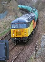 Colas 56087 coasting downhill from the former Touch South Junction, Dunfermline, with the 6N72 Linkswood - Grangemouth empty tanks on 19 March<br><br>[Bill Roberton&nbsp;19/03/2014]
