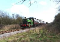 Barclay 0-6-0ST <I>Salmon</I> shortly after taking a train away from Taw Valley Halt on The Swindon & Cricklade Railway on 23 March 2014. [see image 46748]<br><br>[Peter Todd&nbsp;23/03/2014]