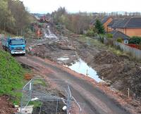 Looking south over the site of the planned Newtongrange station on 28 March 2014.<br><br>[John Furnevel&nbsp;28/03/2014]