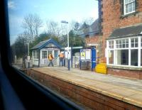 Platform scene at Cattal on the York - Harrogate - Leeds line. View from a train on 19 March 2014.<br><br>[Bruce McCartney&nbsp;19/03/2014]