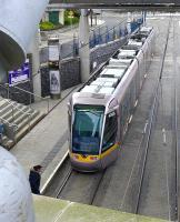 Tram 4006 leaves Dublin Connelly for Saggart on 22 March, seen from the station forecourt.<br><br>[Bill Roberton&nbsp;22/03/2014]