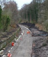 Long walk. The Waverley trackbed looking south from the A6106 bridge towards Eskbank on 28 March 2014.<br><br>[John Furnevel&nbsp;28/03/2014]