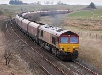 66093 nears Bank Junction, New Cumnock, on 31 March with coal from Hunterston for West Burton power station.<br><br>[Bill Roberton&nbsp;31/03/2014]