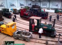 The impressive collection in the former Statfold grain store [see image 46824] from the viewing gallery in March 2014. There is quite a variety of machinery, some exquisitely restored, others needing attention.<br><br>[Ken Strachan&nbsp;30/03/2014]