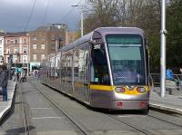 Dublin tram 5010 at the present northern terminus at St Stephens Green on 22 March.<br><br>[Bill Roberton&nbsp;22/03/2014]