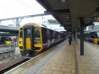 The 12.49 service to Carlisle via the S&C waits to leave Leeds on 25 March. <br><br>[Bruce McCartney&nbsp;25/03/2014]