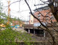 View across the Kelvin towards Benalder Street Bridge and what little remains of Partick Central on 6 April 2014. A pile driver is now on site in connection with the construction of new flats to be built here. [See image 45979]<br><br>[Colin Miller&nbsp;06/04/2014]