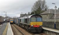 Inverness bound 170405 has cleared the single line section from Pitlochry allowing the southbound Tesco containers to leave Blair Atholl behind DRS 66430.<br><br>[Mark Bartlett&nbsp;05/04/2014]