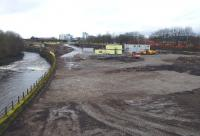 Building preparations well advanced at the site of the former Partick Central looking west on 5 April 2014. Soon there will be nothing to show there was once an extensive goods and passenger station here. [See image 13371]<br><br>[Colin Miller&nbsp;05/04/2014]