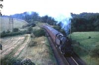 80004 photographed near Thorntonhall in September 1965, passing the site of an old mine branch.<br><br>[G W Robin&nbsp;/09/1965]