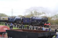 Unusual combination. 6023 <I>King Edward II</I> teams up wth 60163 <I>Tornado</I> on 5 April 2014 in the Great Western Society yard at Didcot during <I>'Big Blue Engine Day'</I>.<br><br>[Peter Todd&nbsp;05/04/2014]