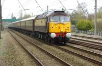 The <I>Northern Belle</I> charter from Glasgow Central to Liverpool Lime Street on 5 April (the day of  the Grand National at Aintree) passing Euxton. The train was hauled by DRS 47832 with 47790 on the rear, both resplendent in <I>Northern Belle</I> livery.<br><br>[John McIntyre&nbsp;05/04/2014]
