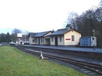 The Welshpool and Llanfair Light Railway terminus station at Welshpool in January 2014. View from the adjacent A458 road looking towards Raven Square and the Raven Inn. <br><br>[David Pesterfield&nbsp;20/01/2014]