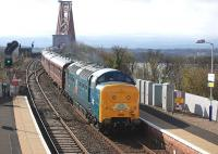 NRM-owned Deltic 55002 <I>The King's Own Yorkshire Light Infantry</I> enters North Queensferry on 12 April 2014 with <i>The Deltic Aberdonian</i> from York.<br><br>[Bill Roberton&nbsp;12/04/2014]