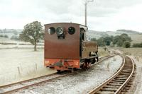 Scene on the Welshpool and Llanfair Light Railway at Sylfaen in July 1979, with recently arrived No 12 <I>Joan</I> in the process of running round.<br><br>[Colin Miller&nbsp;/07/1979]