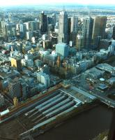 View over Flinders Street station, Melbourne, seen from the 88th floor of the Eureka Building in April 2014.<br><br>[Colin Miller Collection&nbsp;12/04/2014]