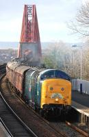 Deltic 55002 <I>The King's Own Yorkshire Light Infantry</I> enters Dalmeny with <I>The Deltic Aberdonian</I> on its return to York on 12 April.<br><br>[Bill Roberton&nbsp;12/04/2014]