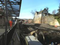 Work at Gleneagles station progressing in readiness for the 2014 Ryder Cup which takes place in September. View south on 15 April along the former Crieff platform.<br><br>[John Yellowlees&nbsp;15/04/2014]