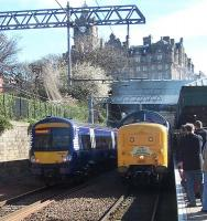 On her first mainline passenger run since 1981, Deltic 55002 <I>The King's Own Yorkshire Light Infantry</I> stands at Waverley on Saturday 12th April 2014 with <I>'The Deltic Aberdonian'</I>.<br><br>[Colin Alexander&nbsp;12/04/2014]