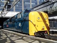 Deltic 55002 <I>The King's Own Yorkshire Light Infantry</I> basks in the sunshine at Aberdeen station on Saturday 12th April 2014 after bringing in <I>'The Deltic Aberdonian'</I>.<br><br>[Colin Alexander&nbsp;12/04/2014]