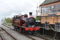 The NRM's Metropolitan No 1 is spending a short time on the Swindon and Cricklade Railway. The 0-4-4 tank was photographed alongside Hayes Knoll signal box on 19 April 2014 carrying the headboard of <I>The Easter Egg-spress.</I> Enough said.<br><br>[Peter Todd&nbsp;19/04/2014]