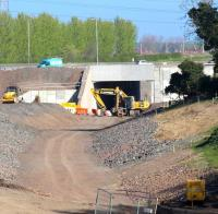 View north towards the city bypass on 20 April with much of the infilling completed on both sides of the new bridge over the Borders Railway route.<br><br>[John Furnevel&nbsp;20/04/2014]