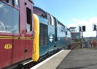 Deltic 55002 <I>The King's Own Yorkshire Light Infantry</I> preparing to leave Aberdeen on 12 April with <I>'The Deltic Aberdonian'</I> returning to York.<br><br>[Colin Alexander&nbsp;12/04/2014]