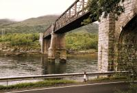 Looking north over Loch Creran in 1997, spanned by the Creagan Viaduct, which carried the Ballachulish branch until closure in 1966. The structure was substantially modified in 1998/9 to carry road traffic on the A828 [see image 42392].<br><br>[Colin McDonald&nbsp;//1997]