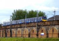 A westbound emu on the viaduct at Yorkhill on 22 April 2014.<br><br>[Colin Miller&nbsp;22/04/2014]