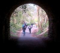 Looking North under the covered way towards Tucking Mill viaduct, the increase in traffic on the cyclepath since Combe Down and Devonshire tunnels were re-opened is evident. See image [[43820]]<br><br>[Ken Strachan 19/04/2014]