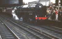 Britannia Pacific 70013 <I>Oliver Cromwell</I> arriving at Carlisle on 11 August 1968 with the BR <I>'Fifteen Guinea Special'</I>. The special was billed at the time as the final standard gauge main line passenger train to be hauled by a steam locomotive on British Rail. [See image 47039]<br><br>[D Walker Collection [Courtesy Bruce McCartney]&nbsp;11/08/1968]