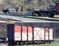 Above: Perhaps the most interesting wagon in Oskova yard on 14 March 2014 was this dumped (?) 8-axle well wagon - quite a monster for 760mm gauge!<br/> <br> Below: 	At one time there would have been hundreds of wooden-bodied bogie vans of similar design in use on the narrow gauge railways of Europe. This one serves the p-way gang on the Banovici Coal Railway and had been out on the line earlier that day.<br><br>[Bill Jamieson&nbsp;14/03/2014]