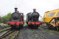 Metropolitan No 1 and GWR 5637 on shed at Hayes Knoll on 24 April 2014. The locomotives were participants in the Swindon and Cricklade Railway Steam Gala the following weekend. <br><br>[Peter Todd&nbsp;24/04/2014]
