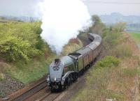 The SRPS <I>Forth Circle</I>, hauled by 60009 <I>Union of South Africa</I>, passing Cowie on the climb away from Stirling on 27 April 2014, with the castle on the skyline.<br><br>[Bill Roberton&nbsp;27/04/2014]