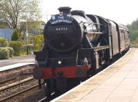 On 28 April 2014, day 3 of <I>The Great Britain VII</I> railtour, ex LMS Black 5 no 44932 hauled the train from Bristol to Grange-over-Sands via Hereford, Shrewsbury and Wrexham. Running some 60 minutes late it coasted through Helsby station heading for the WCML at Warrington. The 9-day tour ends at Kings Cross on 4 May.<br><br>[John McIntyre&nbsp;28/04/2014]