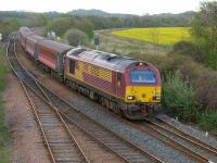 67022 passes Inverkeithing East Junction with the returning evening  Fife commuter service, now formed of ex-Virgin stock, on 1 May.<br><br>[Bill Roberton&nbsp;01/05/2014]