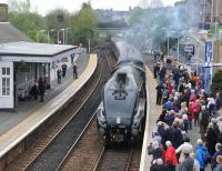 A4 60009 <I>Union of South Africa</I> draws into Inverkeithing station on Sunday 27 April with the afternoon running of the SRPS <I>Forth Circle</I> railtour.<br><br>[Andy Carr&nbsp;27/04/2014]