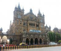 Mumbai's Chatrapathi Shivaji (formerly Victoria) Terminus in May 2014. Opened in 1887 to commemorate the Golden Jubilee of Queen Victoria, the station is India's busiest, serving long distance trains as well as commuter services of the Mumbai Suburban Railway. The change of name took place in 1996.<br><br>[Mark Poustie&nbsp;01/05/2014]