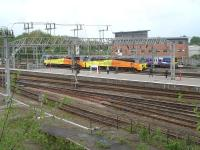 Brand new Colas class 70 locomotives 70806 and 70807 running into Crewe station on 1 May on their post import journey from Liverpool Docks to Bescot Yard, before entering service.<br><br>[David Pesterfield&nbsp;01/05/2014]